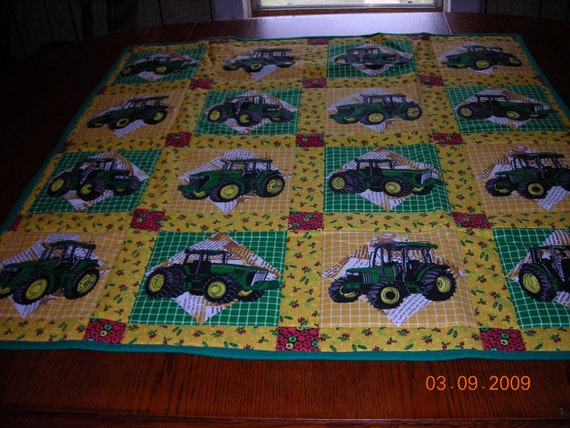 John Deere Quilt Patterns : John deere tractor baby quilt by stitchedfromtheheart on etsy
