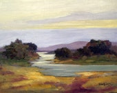 River Landscape Print, Impressionist Oil Painting, Warm Earth Colors, River View, Country River Landscape, Country Scenery, 8 x 10, Lmtd Ed.
