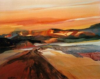 Desert Landscape Print, Rust Red Desert Colors, Acrylic Painting, Contemporary Desert Scene, Abstract Art, Modern Wall Art, 8 x 10 Lmtd. Ed.