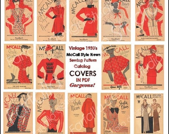 1930's  Reproduction-Glamous Deco Fashion Illustrations- McCall Style News -14 Big Stunning Covers- PDF Download