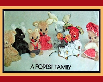 Vintage 1976 - Forest Family - Sewing Pattern-Soft Animal Toys & Wardrobe -Rabbit-Woodchuck-Mouse-Wolf-Squirrel-Skunk