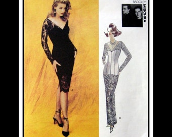 1992 Vintage Vogue-Designer Sewing Pattern-Evening Gown-Cocktail Dress Sexy Fitted Wiggle -Lace- V Neckline -Uncut Size 12-16 -Mega Rare