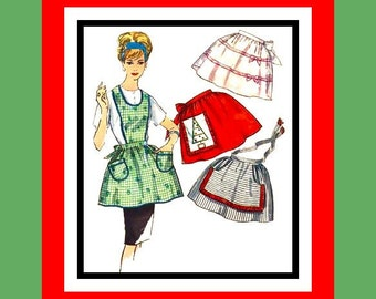 Vintage 1950s- Set Of Four Ladies Aprons -Sewing Pattern Holiday  Apron-Xmas Tree Transfer-Pretty Trims- Rick Rack- Bows- One Size -Rare