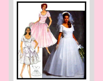 Couture Ballerina Style Wedding Gown -Sewing Pattern -Three Styles- Scoop Neck -Dropped Waist- Lace- Tulle Overskirt -Uncut -Size 6-16-Rare
