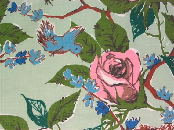 Vintage  1950's - Rose - Bluebird-Nest - Butterfly Cotton Upholstery Motif Fabric