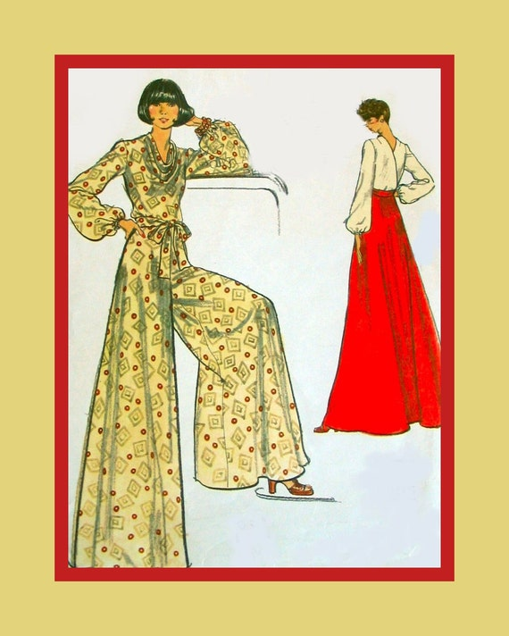 Vintage 1970s-Sexy & Chic Hostess Ensemble-Palazzo Pants-Wrap Blouse- Evening Length Skirt -Vogue Sewing Pattern-Size 12