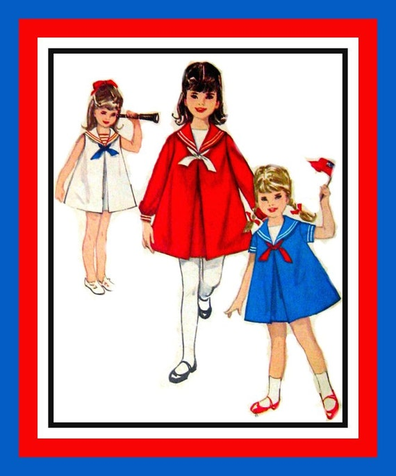 Vintage 1963- Little Sailor Girl Dress - Three Styles- Sewing Patterm -Size 6X -Uncut Rare -Collectible