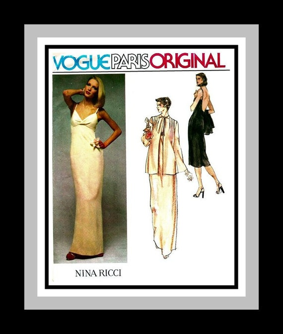 Vintage 1970s -Vogue Paris Original -Sewing Pattern - Feminine French Chic -Evening Gown -Jacket -Nina Ricci -Size 12 -Rare