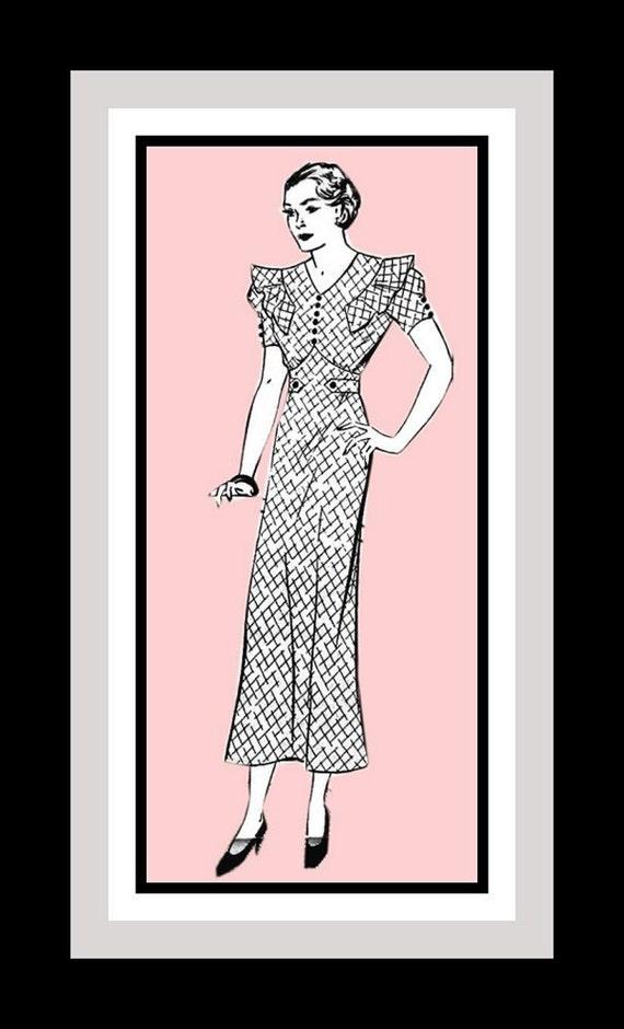 Vinatge 1930s- Art Deco Afternoon Tea Gown -Mail Order Sewing Pattern -Empire Waist- Ruffles -V Neckline -Belt -Size 20- Very Rare