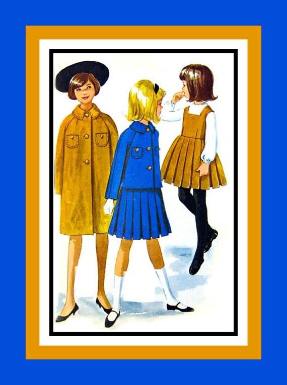 Vintage 1961-Designer French Girls Style School Uniform Ensemble -Sewing Pattern-Jumper- Blouse- Coat -Jacket -Size 14 -Uncut -Rare