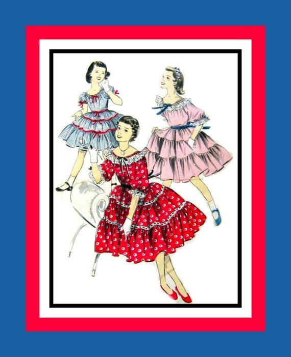 Vintage 1950s- Girls Gathered & Tiered  Party Dress- Sewing Pattern- Off Shoulder - Pretty Ribbons -Bows- Eyelet Trim- Size 10 -Rare