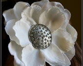 Michaela White Silk Flower Hair Clip with Silver Rhinestone Vintage Fascinator