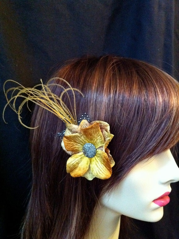 Sunshine Feather and Flower Hair Fascinator with Vintage button