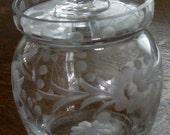 Etched Glass Jam Jar