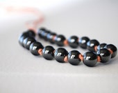 S A L E ////  Hematite stone hand knotted necklace - Charcaol grey long necklace //// P E A C H Y