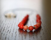 Coral stone hand knotted necklace - Poppy red natural stone long necklace //// C H E R R Y