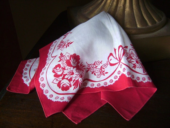 Vintage White printed Hankerchief with Red Flowers and adorable vintage detail