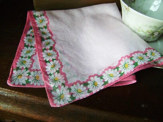 White Summer Daisy Handkerchief on Pink