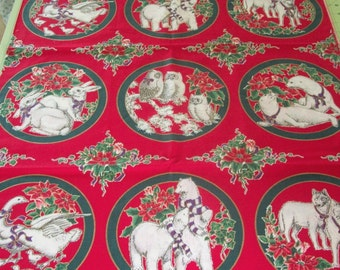 Christmas Fabric Christmas Animals Owls Wolves Seals Bunnies Geese Bears 1 Yard