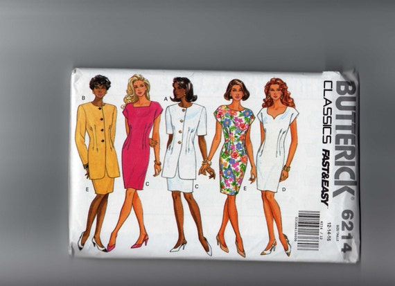 Butterick Classics Fast Easy Sewing Pattern 6214 Size 12 14 16 Misses Jacket Dress With Neckline Variations 1992