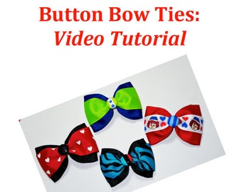 Button Bow Tie Tutorial PDF--Step by Step How to Instructions and Video--Instant Download