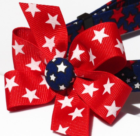 SALE 4th of July Super Stars Dog Collar with Bow, Choose Your Size