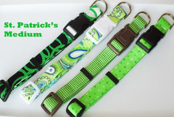 Christmas in July PIF Potluck St. Patrick's Day Dog Collar Size Medium