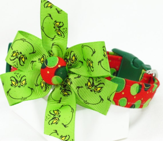 Beware of Mr. Grinch Christmas Dog Collar with Bow, Size XSMALL Only