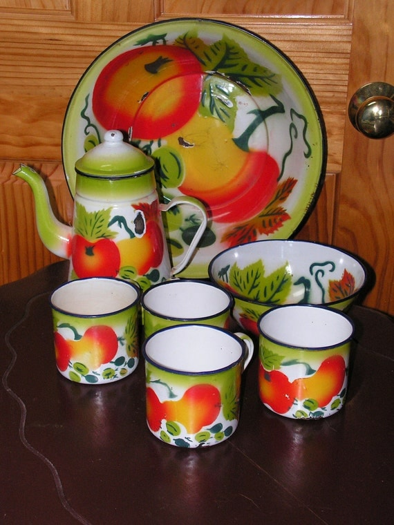 Vintage Collection of Vegetable Fruit motif Enamel Ware Pitcher, cups, bowls