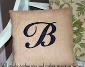 RESERVED - Monogrammed Burlap Pillow for Amber