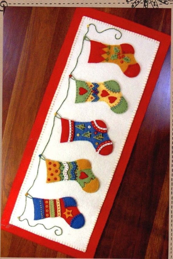 And The Stocking Were Hung Wool Felt Table Runner By