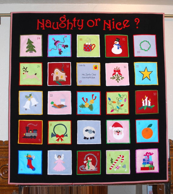 items similar to naughty or nice advent calendar pattern. Black Bedroom Furniture Sets. Home Design Ideas