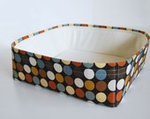 Modern Cat Bed in multi-colored dotted and off white fabrics
