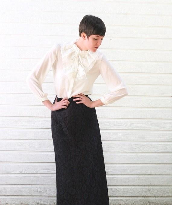 Vintage Black LACE MAXI Skirt S
