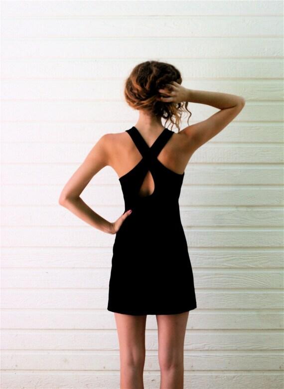 Vintage 1980s Black Velvet CRISS CROSS Back Body Con Dress S