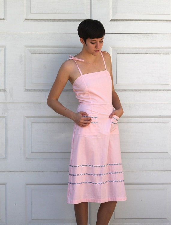 Vintage 70s PRETTY IN PINK Day Dress S