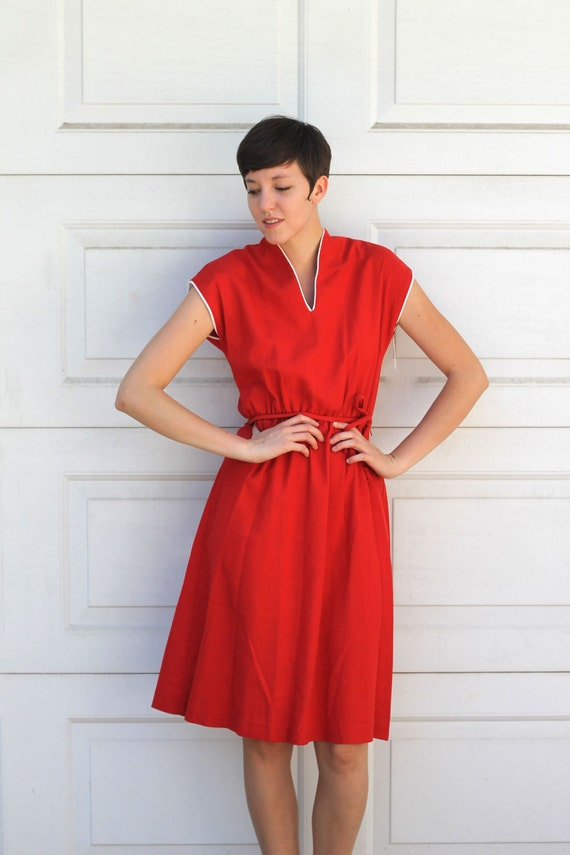 Vintage 70s RED LINEN Day Dress M