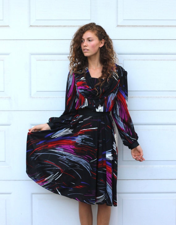 Vintage 70s BRUSHSTROKE Draped Dress M/L