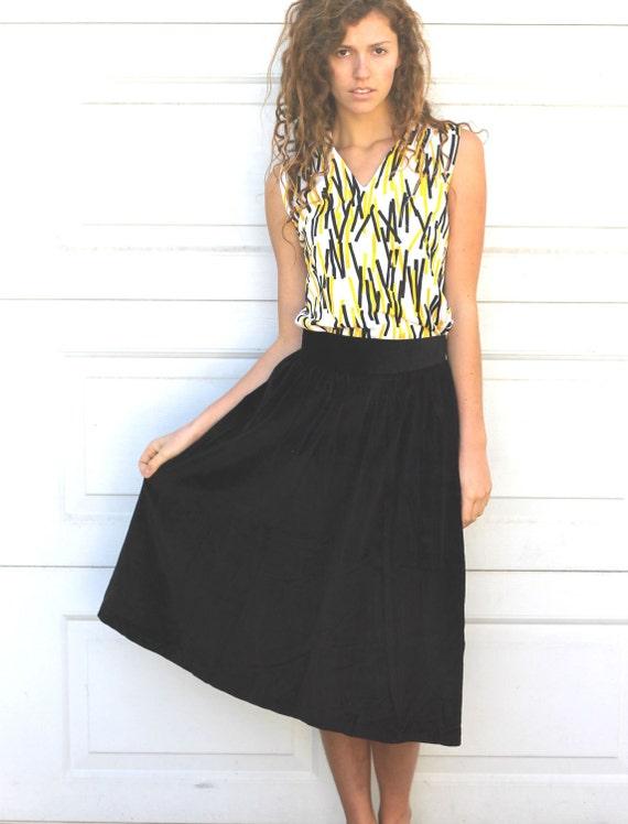 Vintage 80s Black VELVET Skirt S