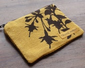 Mustard Floral and Plaid Zipper Pouch Stash Bag