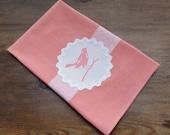 Pink Screenprint Bird Dishtowel