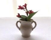 Small Vintage White Ceramic Bud Vase with 3 Handles