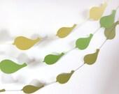 Green Textured Paper Bird Garland Party Banner (9 feet)