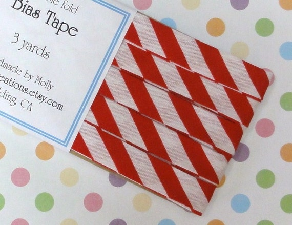 Red and White Stripe Double Fold Bias Tape (3 Yds)