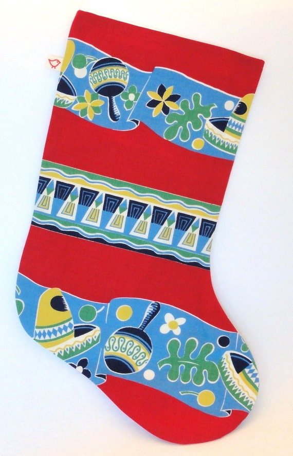 Red and Blue Mexican Print Christmas Stocking Made from Vintage Fabric