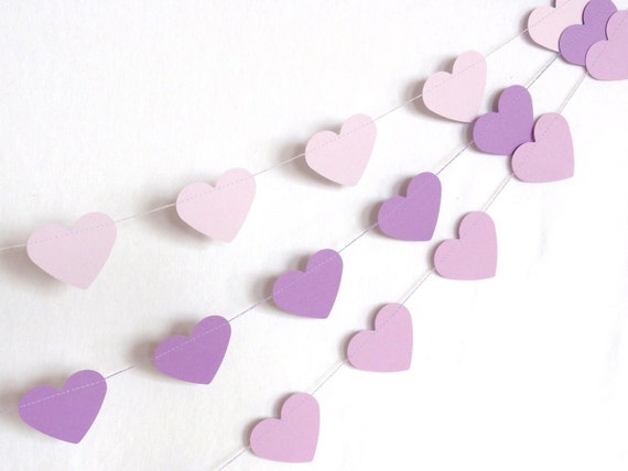 Light Purple Paper Heart Garland Party Banner (10 feet) Lavender