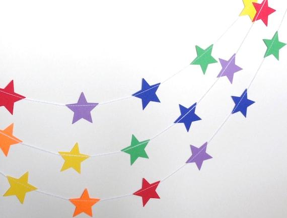Rainbow Star Paper Garland Party Banner (9 feet) Red Blue Green Yellow Orange Purple