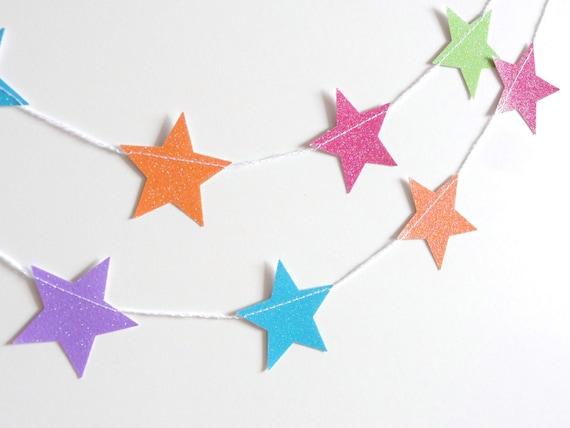 Summer Popsicle Rainbow Glitter Star Paper Garland Party Banner (9 feet) Pink Orange Blue Green Purple
