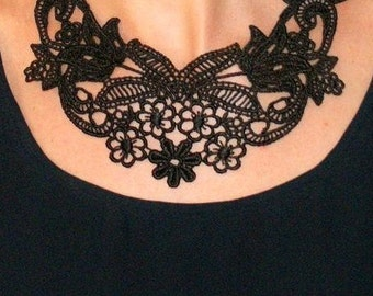 Black lace- statement necklace- brocade necklace- damask necklace- lace necklace- floral lace collar -Beauty Of The Night Necklace
