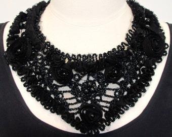 Statement necklace bib necklace black lace necklace applique necklace pearl necklace ribbon necklace evening-Midnight Garden Necklace